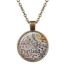 bohemian jewelry wholesale india Canada - Handmade Vintage Map Glass Dome Necklace Spain Austria Florida Portland India Tennessee World Map Pendant Bronze Chain Jewelry