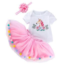 $enCountryForm.capitalKeyWord Australia - Ins Unicorn baby romper newborn baby girl clothes princess newborn rompers+Tutu skirt+flower headband 3pcs set designer baby suits A6329