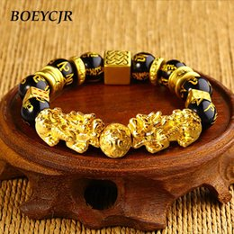$enCountryForm.capitalKeyWord Australia - BOEYCJR Gold Color Brave Troops Stone Beads Bangles & Bracelets Fashion Jewelry Chinese Lucky Energy Bracelet For Men Gift 2018