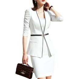 $enCountryForm.capitalKeyWord Australia - Women's Suit White Formal Business Was Half Sleeves Blazer And Skirt Fashion Elegant Work Wear Large Office Interview