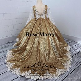 Plus Size Dresses For Teens Australia - Gold Sequined Ball Gown Girls Pageant Dresses 2018 Vintage Lace Long Sleeves Plus Size Cheap Toddlers Kids Cupcake Pageant Dresses for Teens