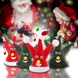 Wholesale swing dancing resale online - Electric Red Christmas Hat Singing Dancing Santa Cap Music Swing Party Creative