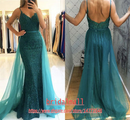 Green prom paGeant dresses online shopping - Sexy Pink Lace Mermaid Evening Dresses With Tulle Detachable Skirt Spaghetti Straps Formal Pageant Prom Dress Cheap Party Ball Gowns