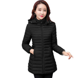 cheap long cotton coats 2019 - B3163 2019 new Korean version fashionable autumn winter women's fashion loose thermal cotton-padded clothes coat ch