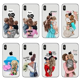 $enCountryForm.capitalKeyWord Australia - Phone Case Fashion Black Brown Hair Baby Mom Girl For Iphone X 5.8 Case For Iphone 6 6s 7 8 Plus Queen Woman Soft Silicone Cover