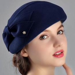 $enCountryForm.capitalKeyWord Australia - 100% Wool Women Fashion Fedoras Lady Elegant British Style Double Flower Beret Hats Painter Cap for Spring Fall Winter Season M1