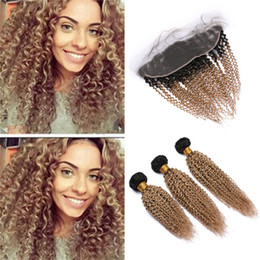 $enCountryForm.capitalKeyWord Australia - Honey Blonde Ombre Kinkys Curly Human Hair Frontal and Bundles 1B 27 Light Brown Ombre Virgin Hair Weaves with Lace Frontal