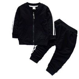 spring flannel NZ - Fashion Spring Autumn Baby Boys Girls Cotton Jacket Pants 2pcs sets Infant Tracksuit Kids Clothing Suts Children Zipper Clothes