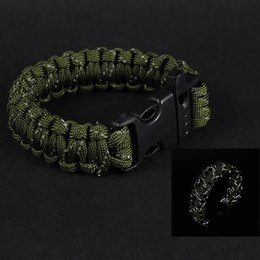 parachute survival kit 2019 - Camping Hiking Emergency ParaCord For Men Women Survival Parachute Rope Whistle Buckle Kit Reflective Wristbands discoun