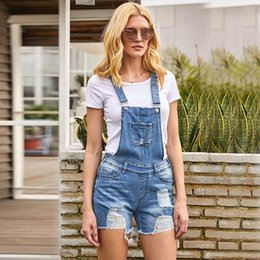$enCountryForm.capitalKeyWord Australia - 2019 Summer New Women Plus Size Denims Pants Romper Hole Ripped Jeans Overalls Jumpsuits Fshion Suspender Trousers Shorts Jeans