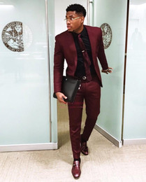 Discount best hottest tuxedos - Hot Sell Burgundy Prom Suits For 2K19 Black Boys Junior Prom Party Wears Classic Fit Best Mens Wedding Txuedos Suits Cus