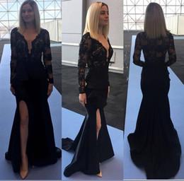 $enCountryForm.capitalKeyWord Australia - Elegant Black Mermaid Evening Dresses Sheer Long Sleeve V-Neck Side Slit Prom Dresses Applqiues Lace Satin Plus Size Formal Dresses Wear