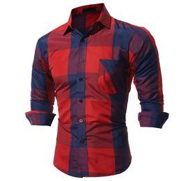 Mens patchwork plaid shirts online shopping - Autumn Fashion Male Shirt Long Sleeves Tops Big Plaid Mens Dress Slim Men Shirt Size M XL