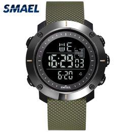 Men S Big Watch Australia - SMAEL Electronics Wristwatches Hot Men Clocks Digital Watch Sport LED Watches S-Big Dial 1711 Watches Army Strap