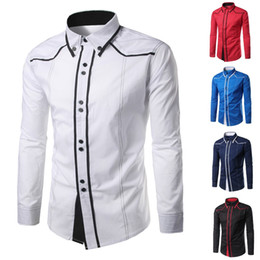 Men Shirts Dres Casual Slim Fit Botão Preto Azul Branco Curto Vire-down Collar manga comprida camisa Mens Clothing chemise homme