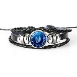 Cute korean braCelets online shopping - Cute Romantic Korean Leather Rope Beaded Bracelet For Womens Mens Constellations Zodiac Gemini Time Gem Glass Cabochon Friendship Jewelry
