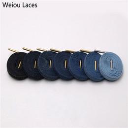 $enCountryForm.capitalKeyWord Australia - Weiou 8mm Premium Flat Denim Shoelaces Metal Aglet Classic Laces Customize Your Kicks Blue Black Shoestrings For Sneakers