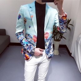 $enCountryForm.capitalKeyWord NZ - 2019 Fashion Print Blazer Pattern Fancy Male Blazer Suit Jacket Placement Floral Men Suit Korean One Button Jacket