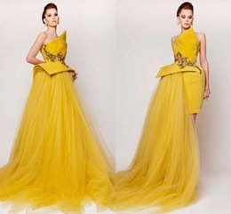 elie saab tulle dresses Canada - Azzi Osta yellow 2015 prom dresses Strapless Hi Low Special occasion dress Tulle Satin beaded Sexy Elie Saab Evening Gowns Short Designer