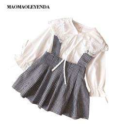 Discount long collar shirts for girl - Toddler Girls Dress 2018 Autumn Winter Children Girls Long Sleeve Shirt+Plaid Strap Dress Kids Dresses For Princess