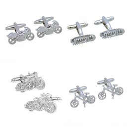 motorcycle plates 2019 - 10pairs lot Silver Motorcycle Racing Boat Cufflinks Motor Bike Saling Boat Cuff Links Copper Plating Men's Jewelry