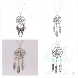 Turquoise Feather Pendant NZ - New arrival statement necklaces hot dreamcatcher antique silver necklace Turquoise wings feather long pendant necklace for women