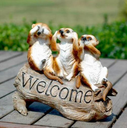 countries animals Australia - Hello Birds Welcome to Meerkat Welcome Card Garden Courtyard Green Welcome Card Country Animal Sculpture Decoration Crafts