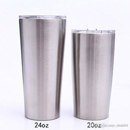 Ingrosso 24 once bicchieri da 20 oz tazza di caffè 304 in acciaio inox a doppia parete vuoto isolato tazze tazze di birra bicchieri di bevande vuote con coperchi trasparenti