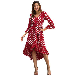 $enCountryForm.capitalKeyWord Australia - Women Printed Long Dresses Fashion Casual 3 4 Sleeves Dresses 2019 New Arrival Spring Ladies Polka Dot Chiffon Long Skirts Womens Dress