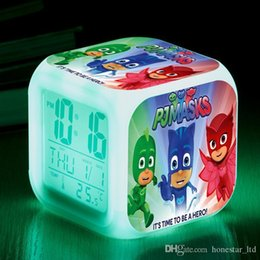 $enCountryForm.capitalKeyWord Australia - New PJ Masks Anime digital Alarm Clock kids LED Colorful Flash wake up Light Pajamas Masks Cartoon Action Figure Toys gift