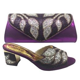 Purple Shoes For Women Heels Australia - African Design Woman Shoes And Bag Set Summer Style Fashion Kitten Heels Shoes And Bag For Party Italian Shoes Purple color Z002