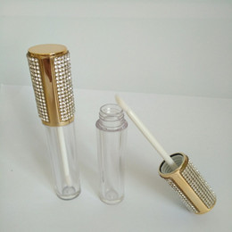 gold cosmetic tubes NZ - Clear Round Lip Gloss wand Tube Empty Plastic Lip gloss Containers Filling Bottle Gold Cap Cosmetic Packaging Container 20pcs