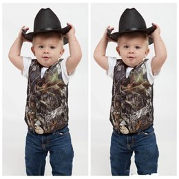 Camouflage shawls online shopping - Top Sale Camo Boy s Formal Wear Vests With Bowknot Camouflage Groom Boy Vest Cheap Satin Custom Formal Wedding Vests Camouflage Outside