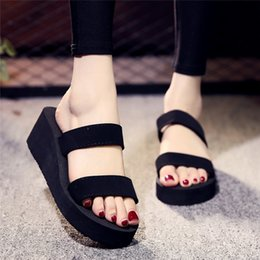 Wholesale Canvas High Shoes Australia - New Women Summer Non-Slip Platform Slippers Shoes Wedges High Heel Woman Outdoor Beach Slippers Sandals 2019 zapatillas mujer#40
