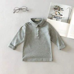 Babies Polo Australia - Spring and Autumn 2019 1 New 2 Boys Cotton Long Sleeve POLO Shirt 4 Children 3 Years Old Baby Korean Lapel T-shirt 6