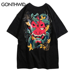 sleeve tshirts UK - wholesale Japanese Devil Snake T Shirts Streetwear 2019 Mens Harajuku Hip Hop Casual Short Sleeve Tops Tees Male Fashion Tshirts