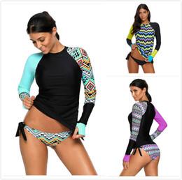 Rash Shirts Australia - Rashguard Swimsuit For Women Long Sleeve Tankini Shirt and Bikini Bottom Two Piece Swimwear