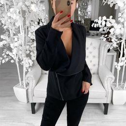$enCountryForm.capitalKeyWord Australia - Autumn Women Slim Cool Jackets Asymmetric Zippers Female Loose Coat Long Sleeve Sweatshirt Irregular Fashion Outwear