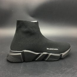 Slip Casual Shoes Cheap NZ - Wholesale Cheap 2018 High Quality Casual Sports Shoes Brand Socks Boots Women Slip-on Elastic Cloth Speed Trainer Men Running Black Shoes