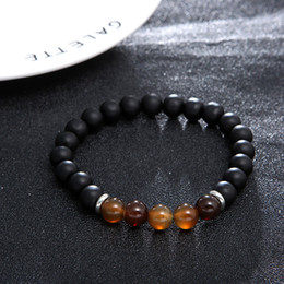 BaseBall Beads online shopping - Free DHL Natural Stone Gemstone Elastic Rope Bracelet Wood Bead Top Quality Meditation Healing Power Elastic Stretch Bracelet D418S Y