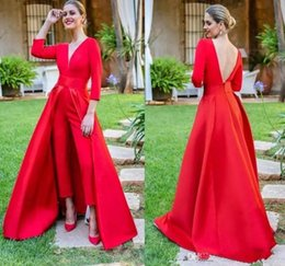 $enCountryForm.capitalKeyWord NZ - Red Deep V Neck Jumpsuit Evening Dresses with Long Sleeves Ruched Backless Floor Length Formal Party Prom Gowns With Over Skirts