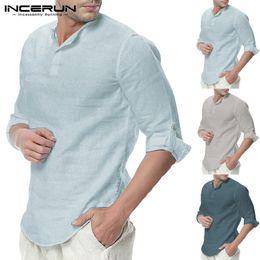 Plain Cotton Tee Shirts NZ - Plain Tee 5xl Men Casual Shirts Long Sleeve Henley Collar V Neck Basic Color Loose Fit Camisa Masculina Beach Men Chemise Tops Y190506