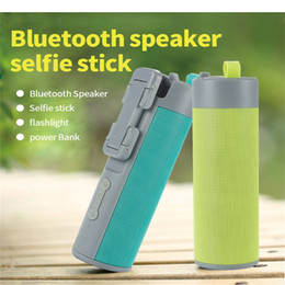 Player Power Australia - 4 IN 1 Multifunctional Outdoor Sport Portable Wireless Bluetooth Selfie Stick Speaker Portable Speaker with Selfie Stick and Power Bank
