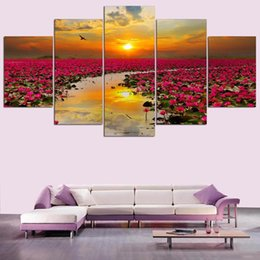 Canvas Art Prints Flowers NZ - Modern Pictures For Living Room HD Printed Decor Frame 5 Panel Sunset Lotus Flowers Scenery Wall Art Home Canvas Painting Poster