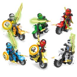 48066df60a63d 6 pcs Phantom Ninjago Tornado Moto Chariot Véhicule Kai Garmadon Cole Ninja  Mini Jouet Figure Building Block Briques Avec Des Épées Moto