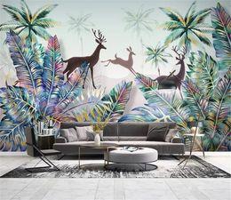 $enCountryForm.capitalKeyWord Australia - 3d Wallpaper Mural Small Fresh Nordic Tropical Plant Forest Landscape Coconut Tree Elk HD Superior Decorations Wallpaper