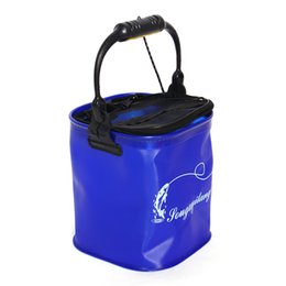 $enCountryForm.capitalKeyWord NZ - bag Outdoor Bucket Barrel Water Container Tackle Camping Foldable EVA Rope Belt Fishing Bag Collapsible Hiking Blue