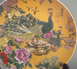 $enCountryForm.capitalKeyWord Australia - Exquisite Chinese antique Famille Rose Porcelain Plate Painted with peacock and flowers with Qianlong mark
