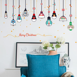 Christmas Window Stickers For Shops Canada - Christmas Chandelier Wall Stickers Shop Window Glass Door Wall DIY Home Decor New Year Christmas Decoration Stickers