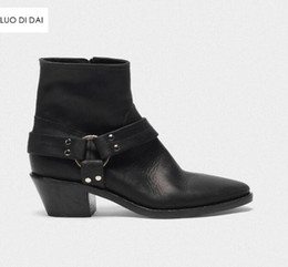 black blocks Canada - 2019 new women ankle boots block heel cowboy boots women black leather boots ladies party shoes zip western booties point toe